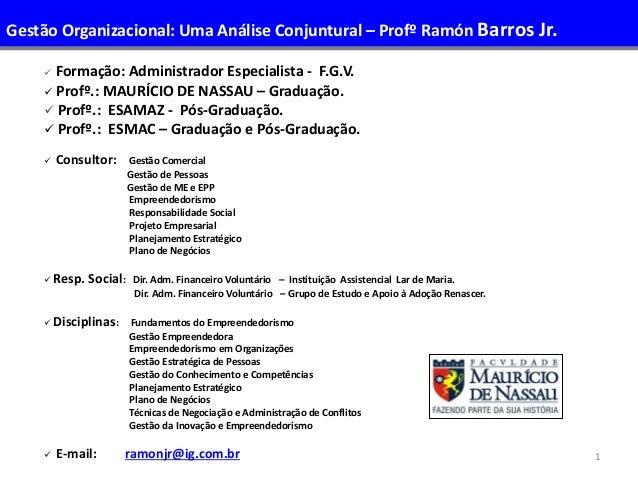 1  Formação: Administrador Especialista - F.G.V.  Profº.: MAURÍCIO DE NASSAU – Graduação.  Profº.: ESAMAZ - Pós-Graduaç...