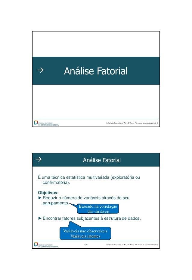 28-09-2014 1 Análise Fatorial Inferência Estatística ● PM ● 2º Ano ● 1º Semestre ● Ano Letivo 2014/2015 Análise Fatorial É...