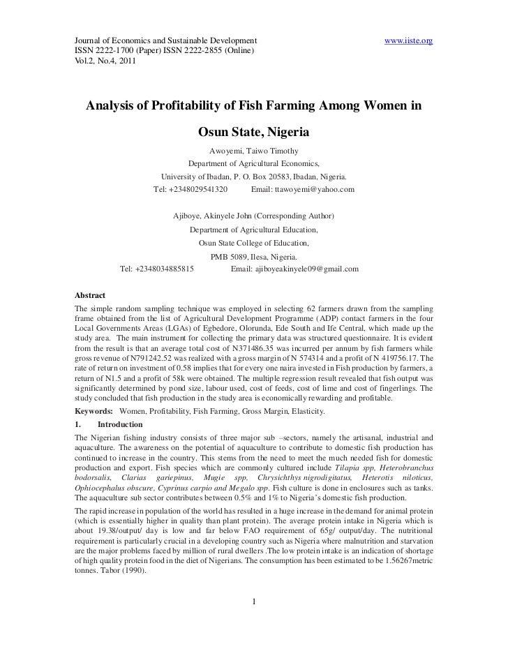 Journal of Economics and Sustainable Development                                               www.iiste.orgISSN 2222-1700...