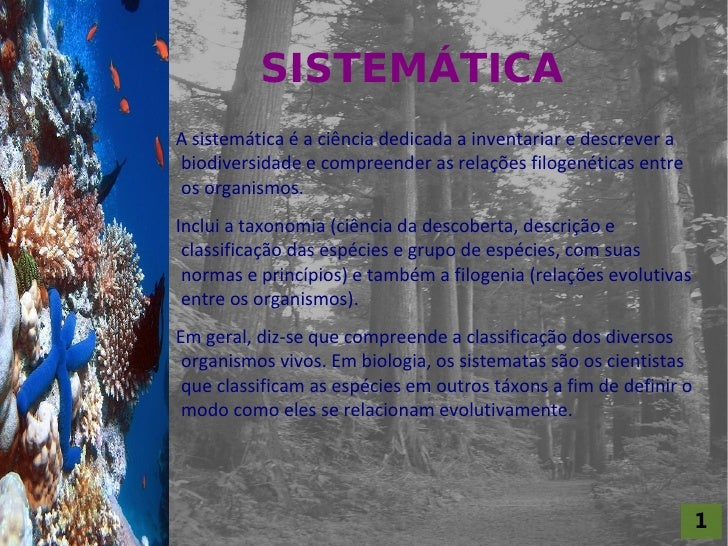 SISTEMÁTICA For al St udi o A                      A sistemática é a ciência dedicada a inventariar e descrever a         ...