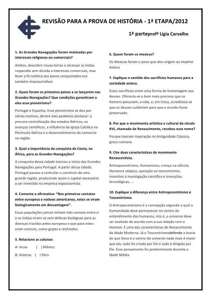 REVISÃO PARA A PROVA DE HISTÓRIA - 1ª ETAPA/2012                                                                      1ª p...