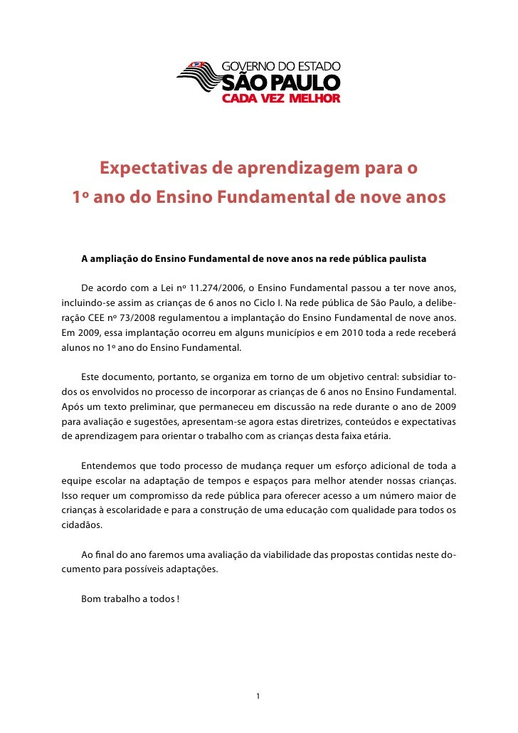 Expectativas de aprendizagem para o  1º ano do Ensino Fundamental de nove anos    A ampliação do Ensino Fundamental de nov...