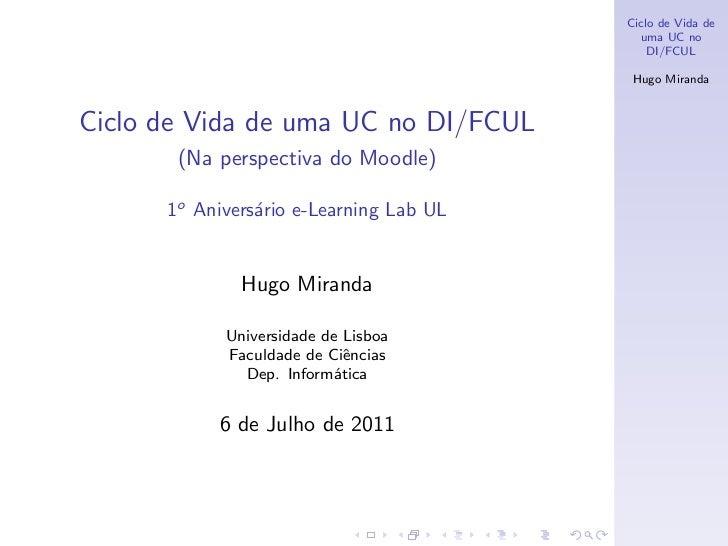 Ciclo de Vida de                                           uma UC no                                             DI/FCUL  ...
