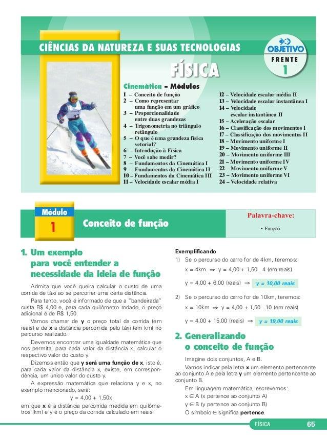 y = 10,00 reais  y = 19,00 reais  FÍSICA 65  Cinemática – Módulos  1 – Conceito de função  2 – Como representar  uma funçã...