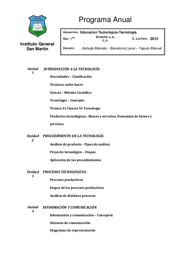 Programa Anual                       ASIGNATURA:    Educación Tecnológica-Tecnología                                ERO   ...