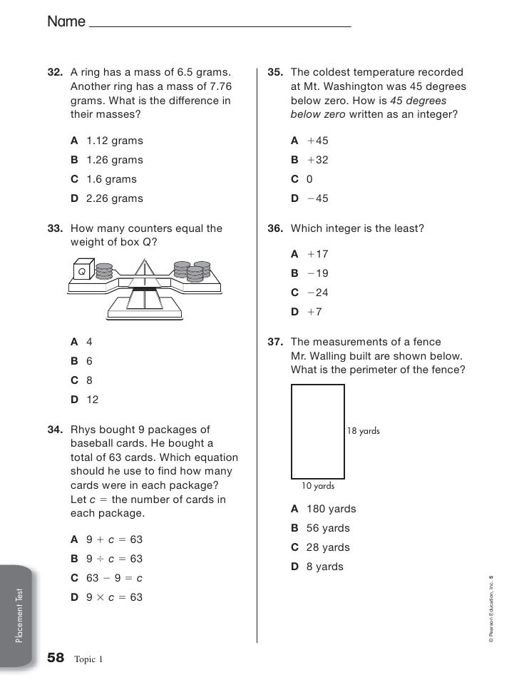 1a 5th Grade Placement Test – Envision Math 5th Grade Worksheets