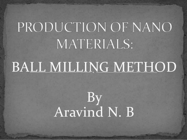BALL MILLING METHOD         By    Aravind N. B