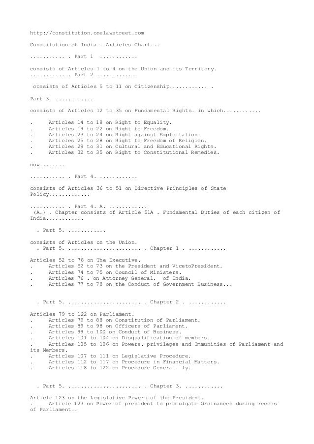 http://constitution.onelawstreet.com Constitution of India . Articles Chart... ........... . Part 1 ............ consists ...