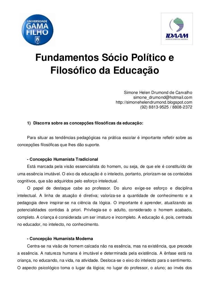 Fundamentos Sócio Político e            Filosófico da Educação                                                           S...