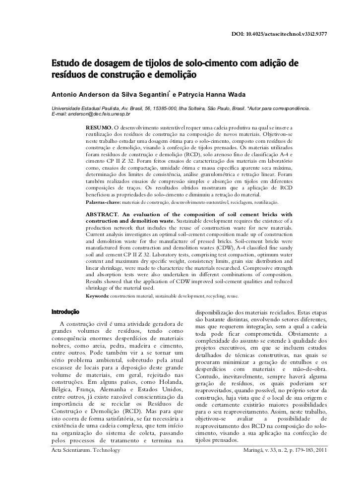 DOI: 10.4025/actascitechnol.v33i2.9377Estudo de dosagem de tijolos de solo-cimento com adição deresíduos de construção e d...