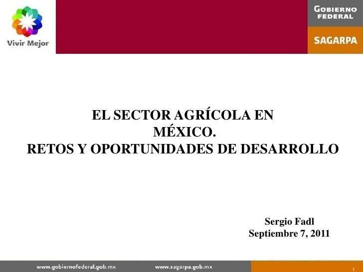 1<br />EL SECTOR AGRÍCOLA EN<br /> MÉXICO.<br />RETOS Y OPORTUNIDADES DE DESARROLLO<br />Sergio Fadl<br />Septiembre 7, 20...