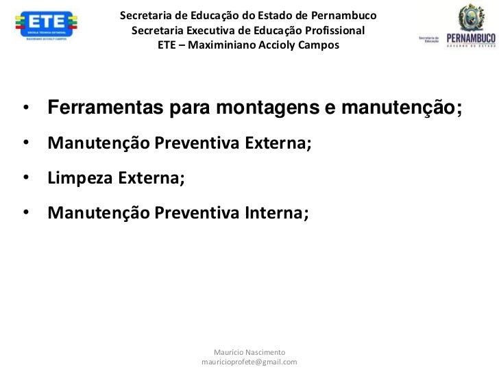 Secretaria de Educação do Estado de Pernambuco            Secretaria Executiva de Educação Profissional                 ET...