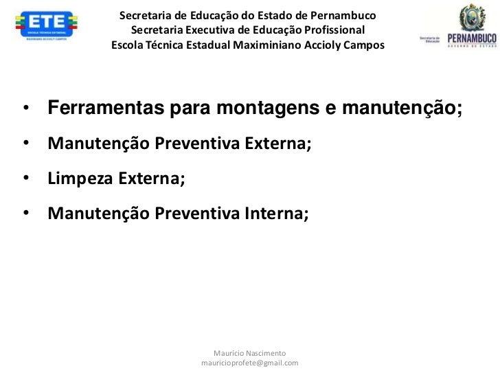 Secretaria de Educação do Estado de Pernambuco             Secretaria Executiva de Educação Profissional         Escola Té...