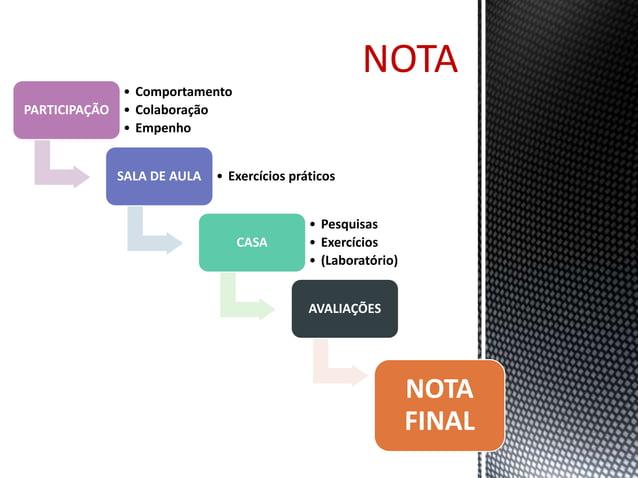 NOTA  PARTICIPAÇÃO  • Comportamento  • Colaboração  • Empenho  SALA DE AULA • Exercícios práticos  CASA  • Pesquisas  • Ex...