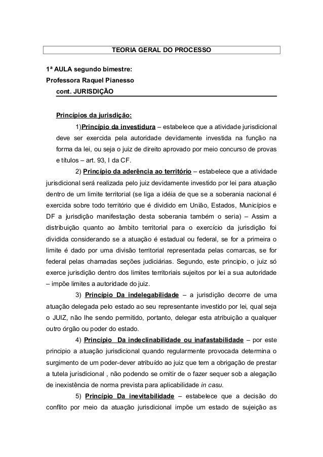 TEORIA GERAL DO PROCESSO 1ª AULA segundo bimestre: Professora Raquel Pianesso cont. JURISDIÇÃO Princípios da jurisdição: 1...