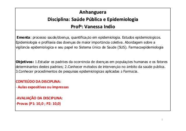 1 AnhangueraAnhanguera Disciplina: SaDisciplina: Saúúde Pde Púública e Epidemiologiablica e Epidemiologia ProfProfaa: Vane...