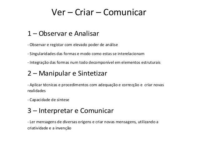 Ver – Criar – Comunicar 1 – Observar e Analisar - Observar e registar com elevado poder de análise - Singularidades das fo...