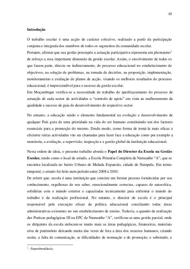 10 Introdução O trabalho escolar é uma acção de carácter colectivo, realizado a partir da participação conjunta e integrad...