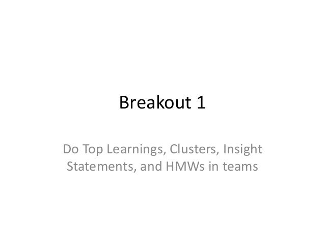 Breakout 1 Do Top Learnings, Clusters, Insight Statements, and HMWs in teams