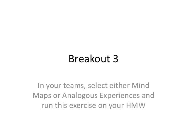 Breakout 3 In your teams, select either Mind Maps or Analogous Experiences and run this exercise on your HMW