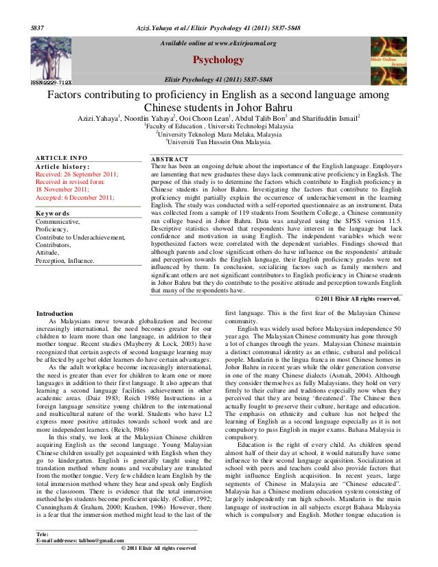 Azizi.Yahaya et al./ Elixir Psychology 41 (2011) 5837-58485837 Introduction As Malaysians move towards globalization and b...