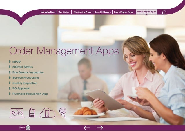 Contact Introduction Our Vision Monitoring Apps Ops & HR Apps Sales Mgmt Apps Order Mgmt Apps Order Management Apps Order ...