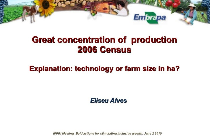 Great concentration   of  production 2006 Census Explanation: technology or farm size in ha? Eliseu Alves IFPRI Meeting, B...