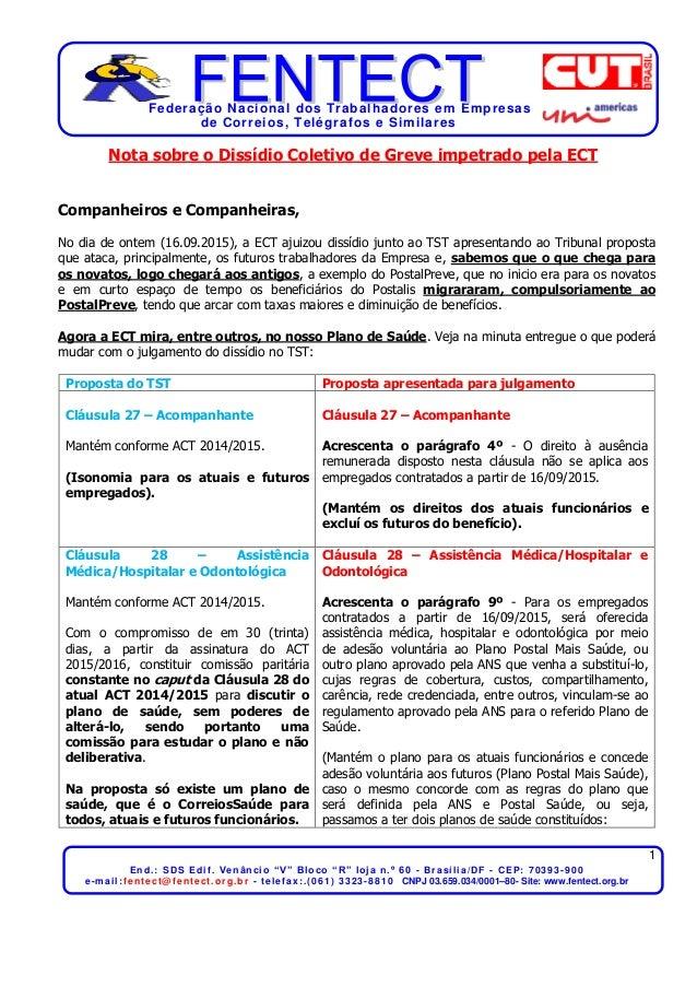 """Federação Nacional dos Trabalhadores em Empresas de Correios, Telégrafos e Similares 1 End.: SDS Edif. Venâncio """"V"""" Bloco ..."""