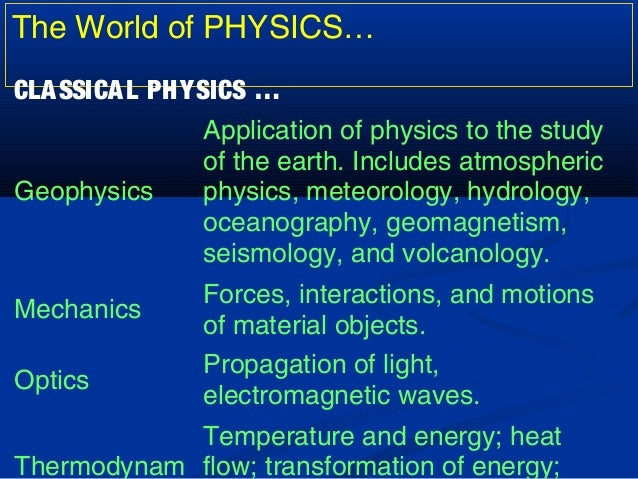 branches of physics