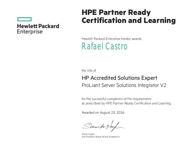 Rafael Castro Hp Ase Certificate