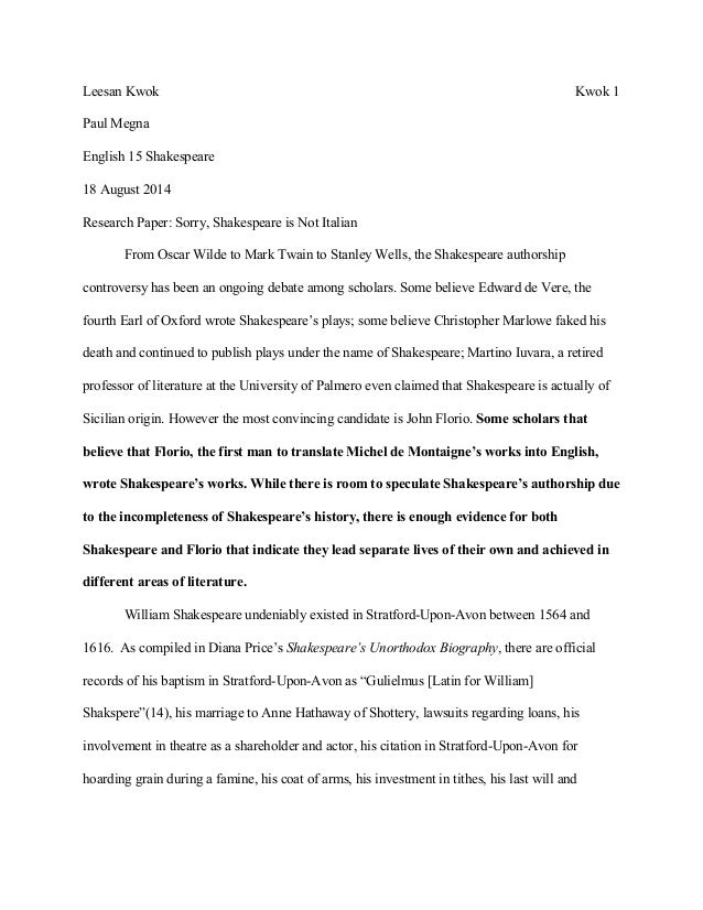 shakespeare authorship research paper