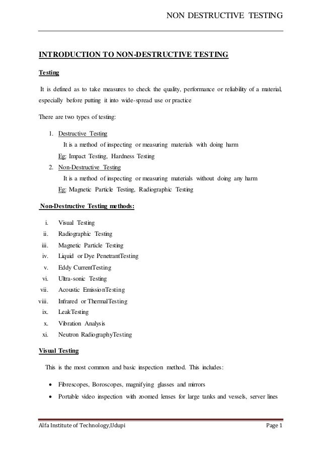 Great NON DESTRUCTIVE TESTING Alfa Institute Of Technology,Udupi Page 1  INTRODUCTION TO NON DESTRUCTIVE ...