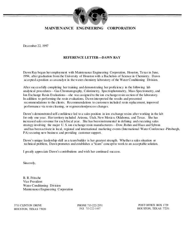 MECO Reference letter