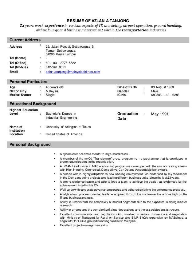 resume of azlan a tanjong 2014