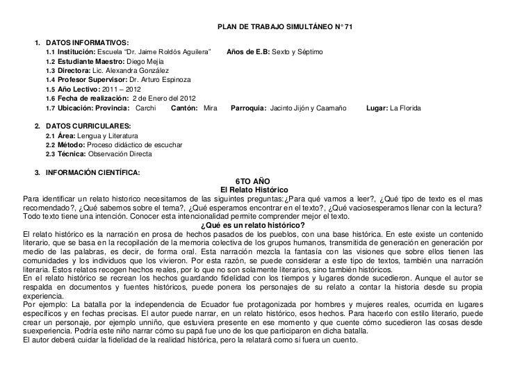 """PLAN DE TRABAJO SIMULTÁNEO N° 71   1. DATOS INFORMATIVOS:      1.1 Institución: Escuela """"Dr. Jaime Roldós Aguilera""""     Añ..."""