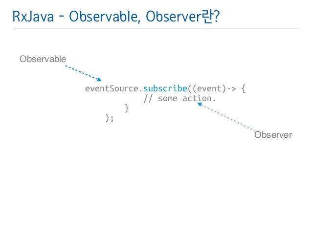 RxJava - Observable, Observer란?  eventSource.subscribe((event)-> {  // some action.  }  );  Observable  Observer