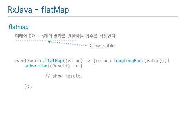 RxJava - flatMap  flatmap䯽  - 미래에 0개 ~ n개의 결과를 반환하는 함수를 적용한다.䯽  !  !  eventSource.flatMap((value) -> {return longlongFunc(...