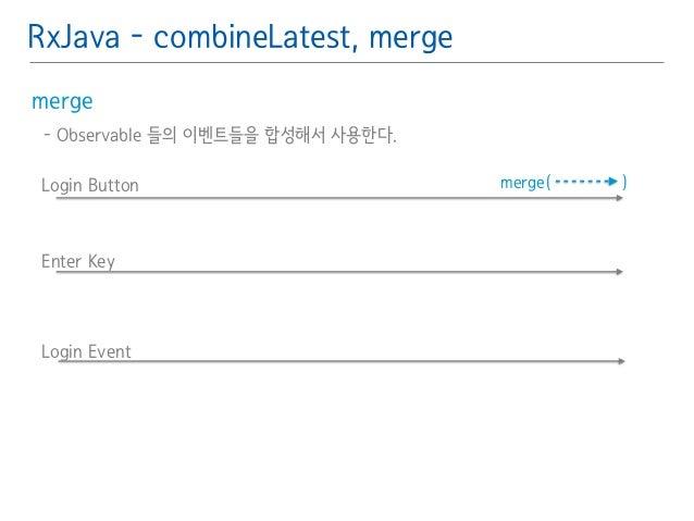 RxJava - combineLatest, merge  merge䯽  - Observable 들의 이벤트들을 합성해서 사용한다.䯽  !  Login Button merge( )  Enter Key  Login Event