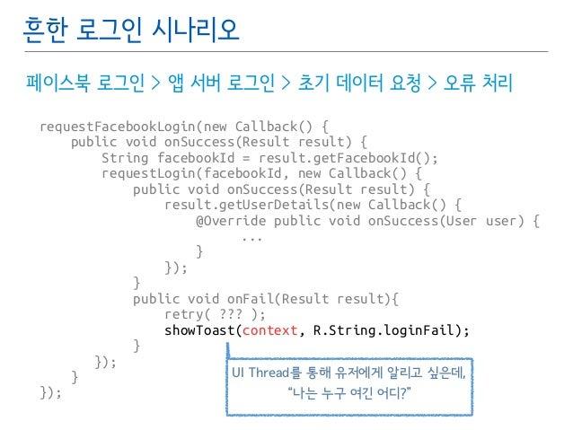 흔한 로그인 시나리오  페이스북 로그인 > 앱 서버 로그인 > 초기 데이터 요청 > 오류 처리  requestFacebookLogin(new Callback() {  public void onSuccess(Result ...