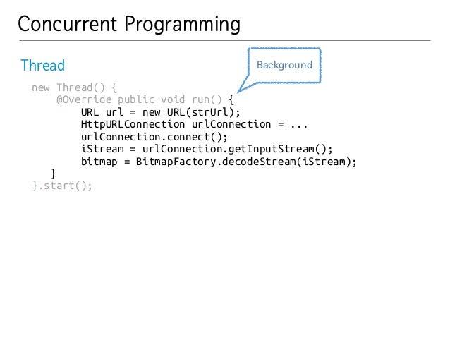 Concurrent Programming  Thread  new Thread() {  @Override public void run() {  URL url = new URL(strUrl);  HttpURLConnecti...