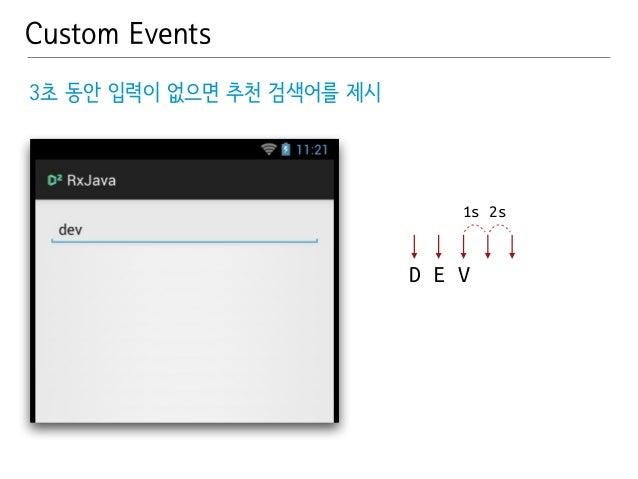 Custom Events  1s 2s  D E V  3초 동안 입력이 없으면 추천 검색어를 제시