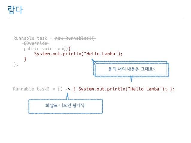 """람다  Runnable task = new Runnable(){  @Override  public void run(){  System.out.println(""""Hello Lamba"""");  }  };  Runnable ta..."""