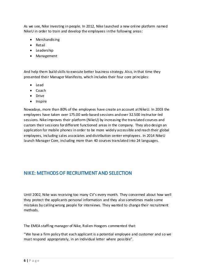 nike recruitment and selection process