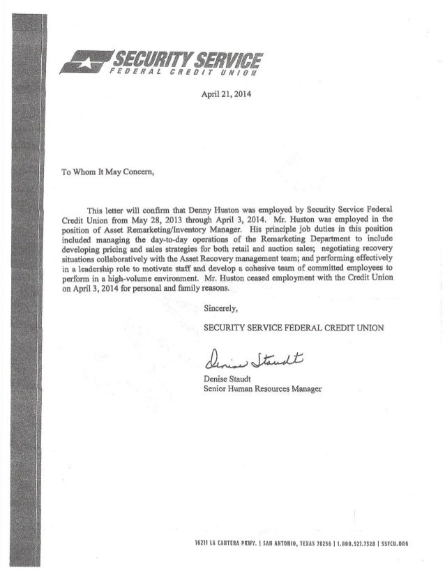 Denny Huston letter of recommendation from SSFCU 04212014