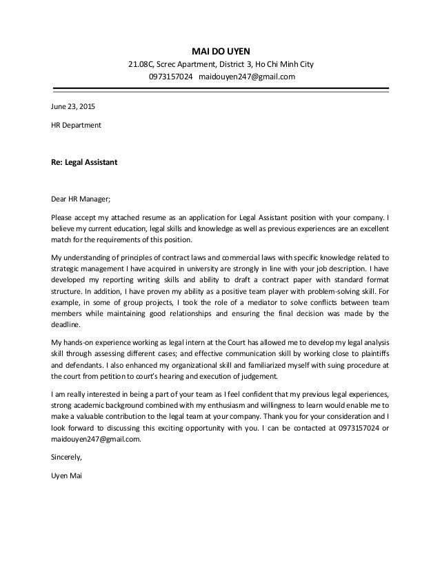 Cover Letter For A Law Office Assistant - Administrative ...