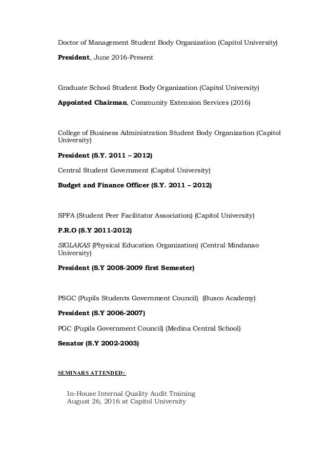 Example Resume For Ojt Financial Management Students   Clasifiedad     Shopgrat