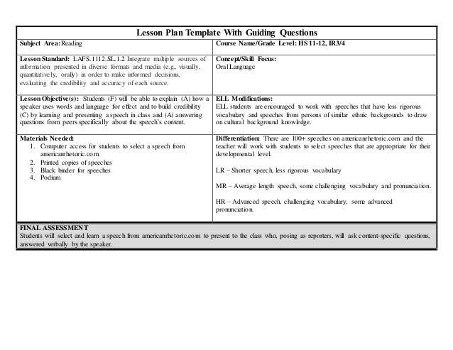 Lesson Plan Oral Language Grade - Language lesson plan template