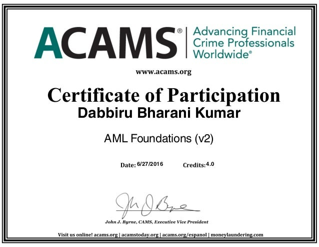 ACAMS Foundation Certificate