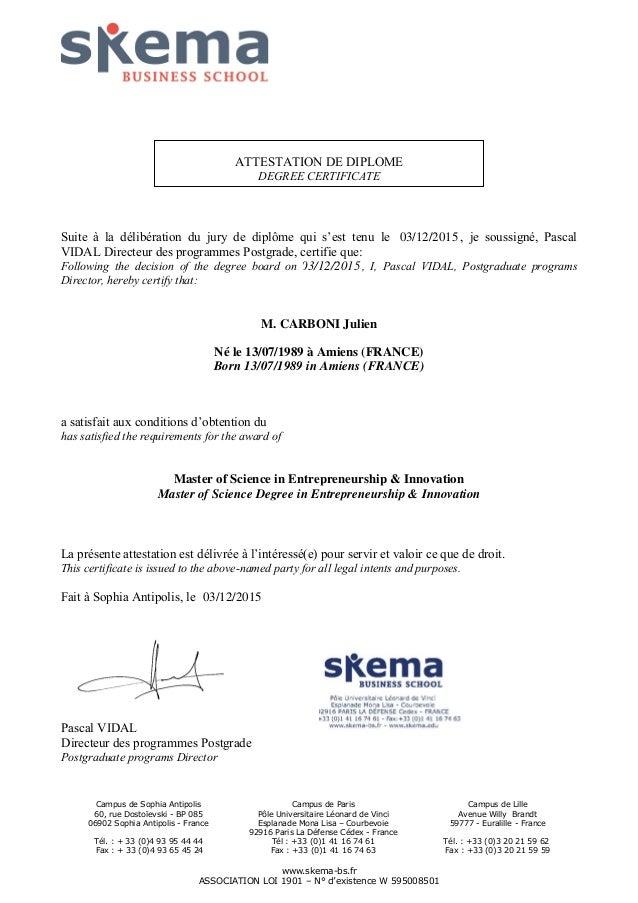 attestation diplome msc ei 2015