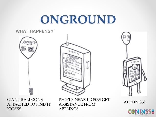 ONGROUND WHAT HAPPENS? GIANT BALLOONS ATTACHED TO FIND IT KIOSKS PEOPLE NEAR KIOSKS GET ASSISTANCE FROM APPLINGS APPLINGS?